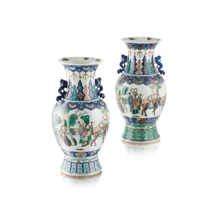 PAIR OF FAMILLE VERTE BALUSTER VASES QIANLONG MARK BUT 19TH CENTURY 44.5cm high