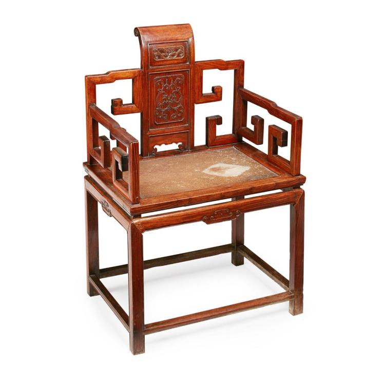 HUANGHUALI SOUTHERN ''OFFICIAL''S HAT'' CHAIR QING DYNASTY, 19TH CENTURY 63cm wide, 97cm high, 47cm deep