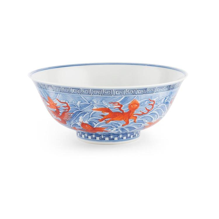 IRON-RED DECORATED BLUE AND WHITE BOWL GUANGXU MARK AND POSSIBLY OF THE PERIOD 21.5cm diam
