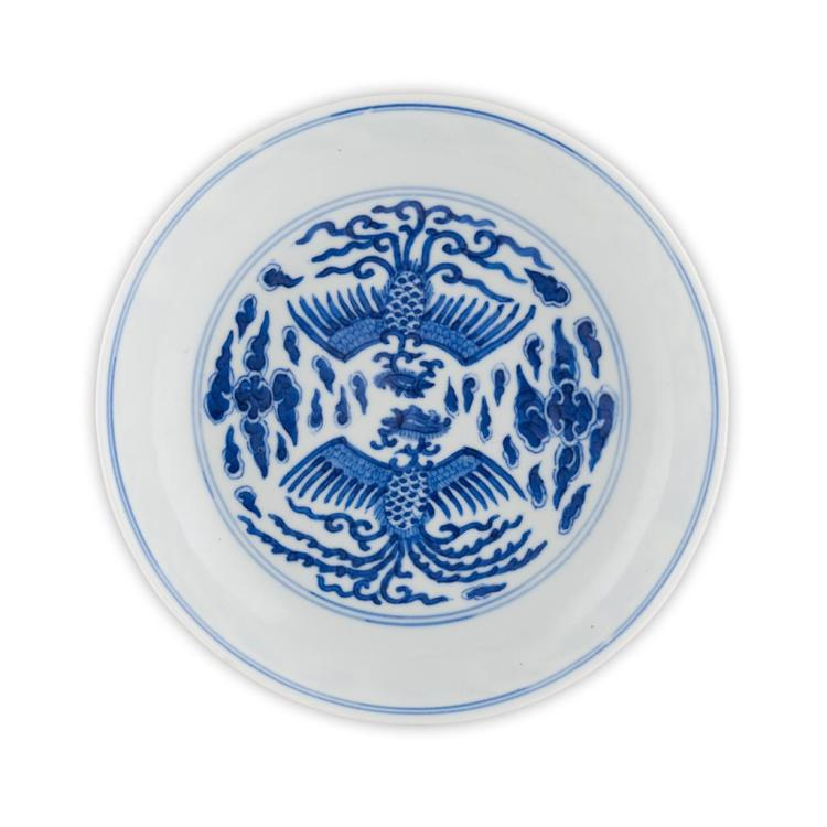 BLUE AND WHITE 'PHOENIX' SAUCER DISH GUANGXU MARK AND OF THE PERIOD 16.5cm diam