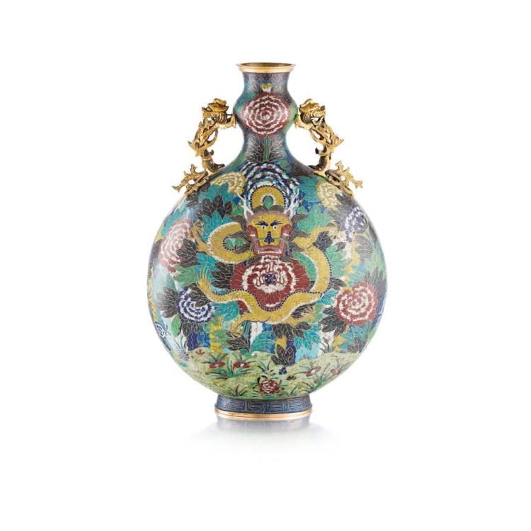 LARGE CLOISONNÉ ENAMEL MOON FLASK JIAQING PERIOD 68cm high