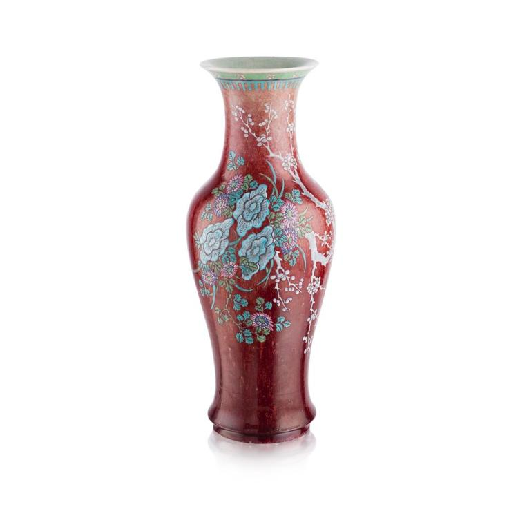 SANG-DE-BOEUF GLAZED FAMILLE ROSE BALUSTER VASE 45.5cm high