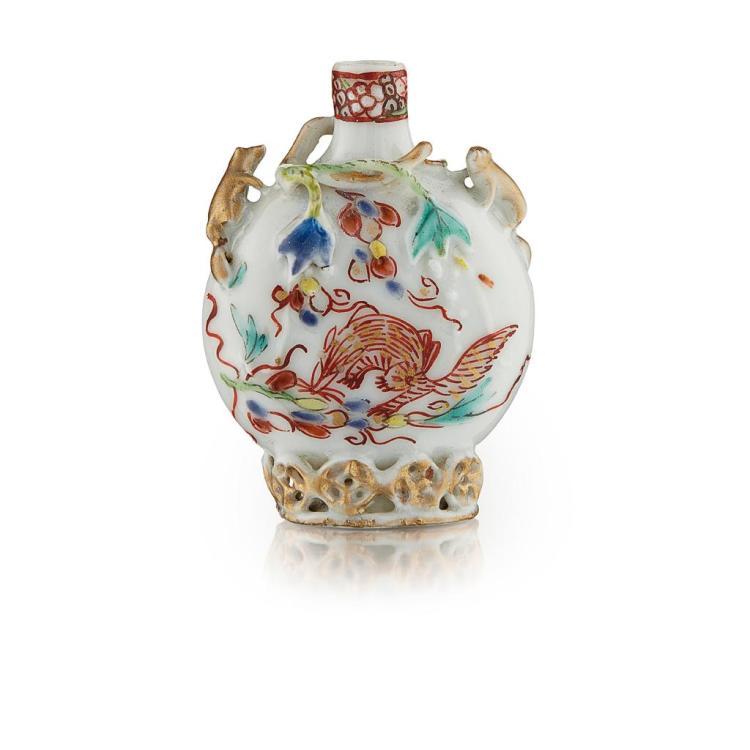 RELIEF-MOULDED FAMILLE ROSE SNUFF BOTTLE YONGZHENG PERIOD 4.8cm high