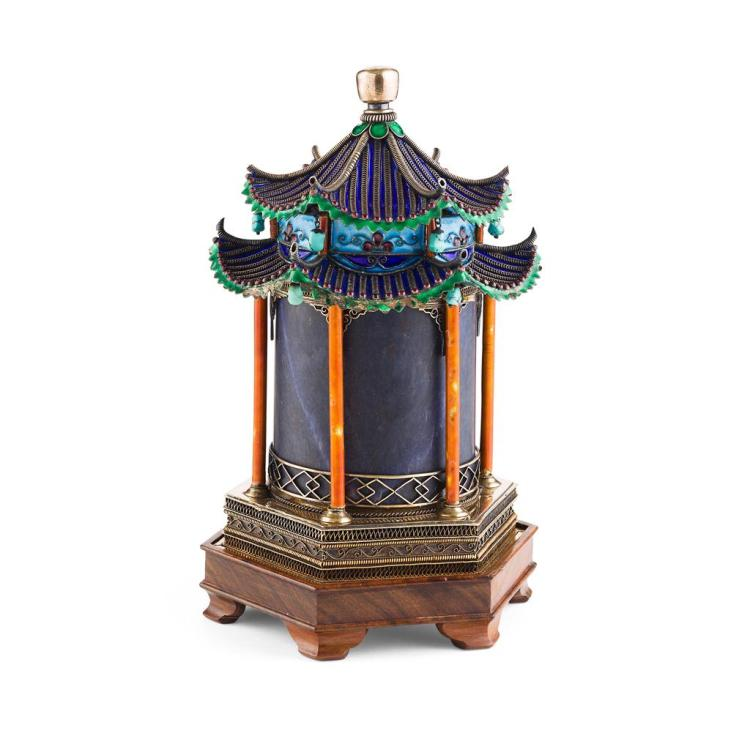 ENAMELLED AND EMBELLISHED SILVER MODEL OF A TEMPLE LATE 19TH/EARLY 20TH CENTURY 21cm high (excluding stand)