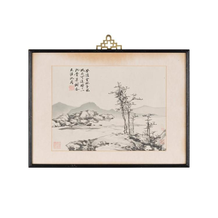 AFTER SHEN ZHOU (1427-1509) LANDSCAPE 23.5cm high, 32cm wide (sight)