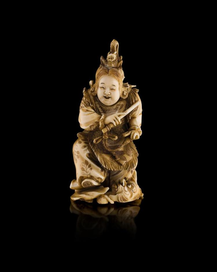 Y CARVED IVORY OKIMONO OF AN ACTOR MEIJI PERIOD 11.5cm high