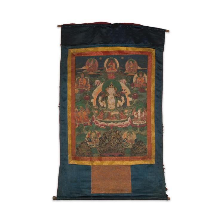 THANGKA OF AVALOKITESHVARA CHATURBHUJA QING DYNASTY, 19TH CENTURY 55cm high, 40cm wide (sight)