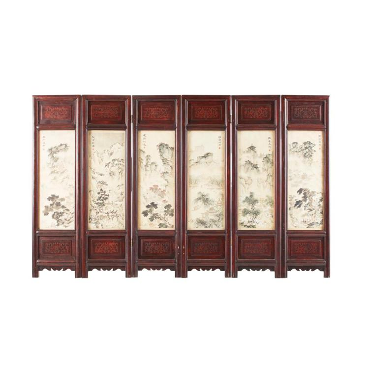SIX-FOLD HARDWOOD FLOOR SCREEN INSET WITH PAINTED SILK PANELS REPUBLIC PERIOD each fold 60cm high, 16.5cm wide