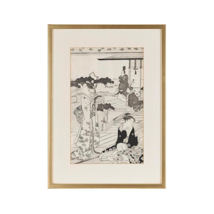 HOSODA EISHI (1756-1829) PRINCE GENJI IN MODERN DRESS, CIRCA 1789 34cm high, 21.2cm wide (sight)