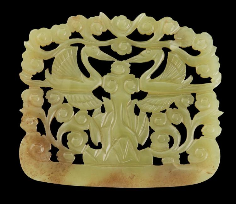 YELLOW JADE 'CRANE' PLAQUE 7.9cm wide