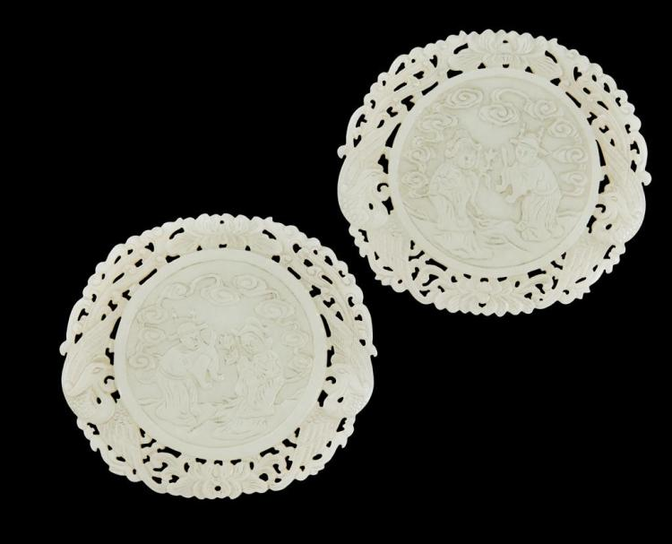 PAIR OF PALE CELADON JADE WEDDING PLAQUES 9.5cm diam