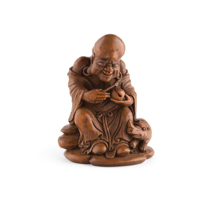 CARVED BAMBOO LAUGHING BUDDHA 15cm high