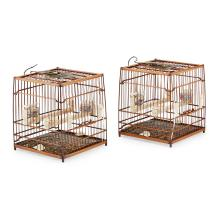 PAIR OF BAMBOO BIRD CAGES 22.5cm high