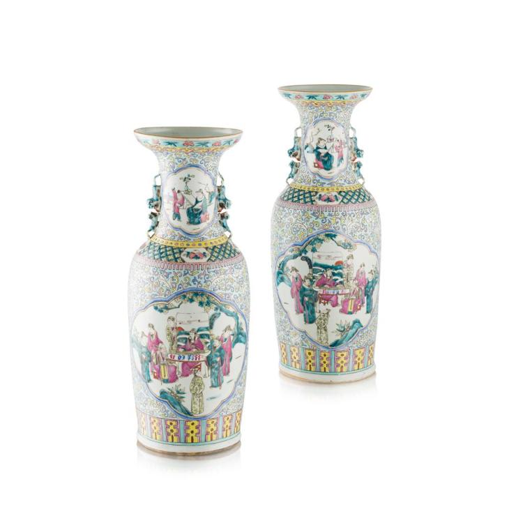 LARGE PAIR OF CANTON FAMILLE ROSE VASES LATE QING DYNASTY, 19TH CENTURY 62cm high