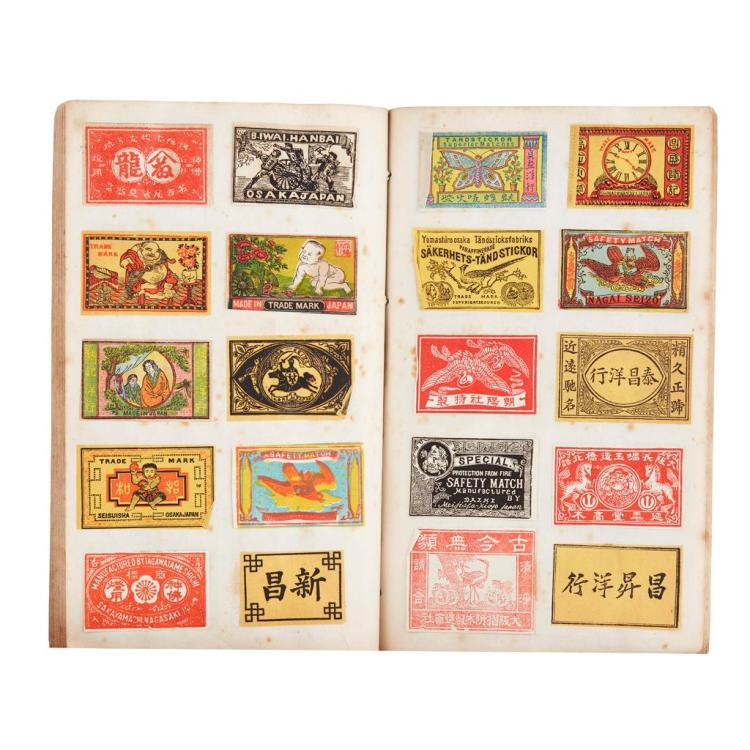 ALBUM OF CHINESE, JAPANESE AND KOREAN MATCHBOX LABELS LATE 19TH/EARLY 20TH CENTURY album 23.2cm high
