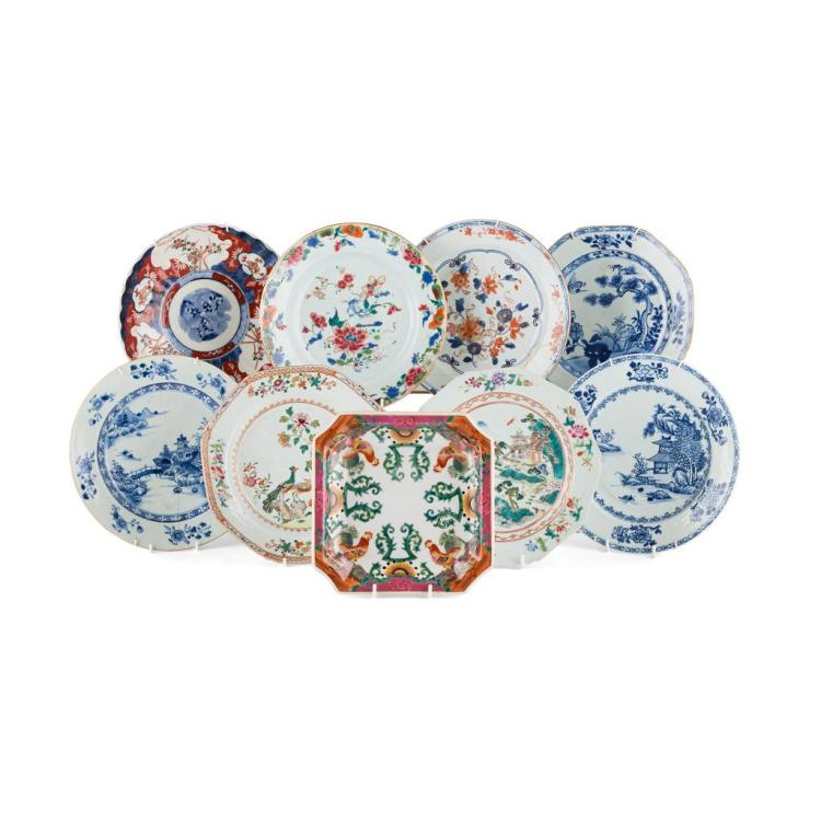 COLLECTION OF ASSORTED EXPORT PLATES QING DYNASTY, 18TH/19TH CENTURY largest 23.2cm diam
