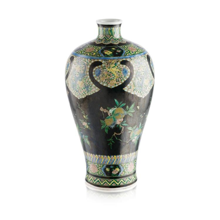 FAMILLE NOIRE 'THREE ABUNDANCES' VASE, MEIPING KANGXI MARK BUT LATER 43cm high