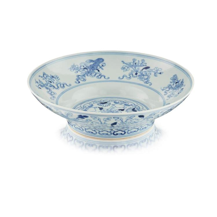 BLUE AND WHITE 'BAJIXIANG' DISH QIANLONG MARK AND OF THE PERIOD 20.3cm diam