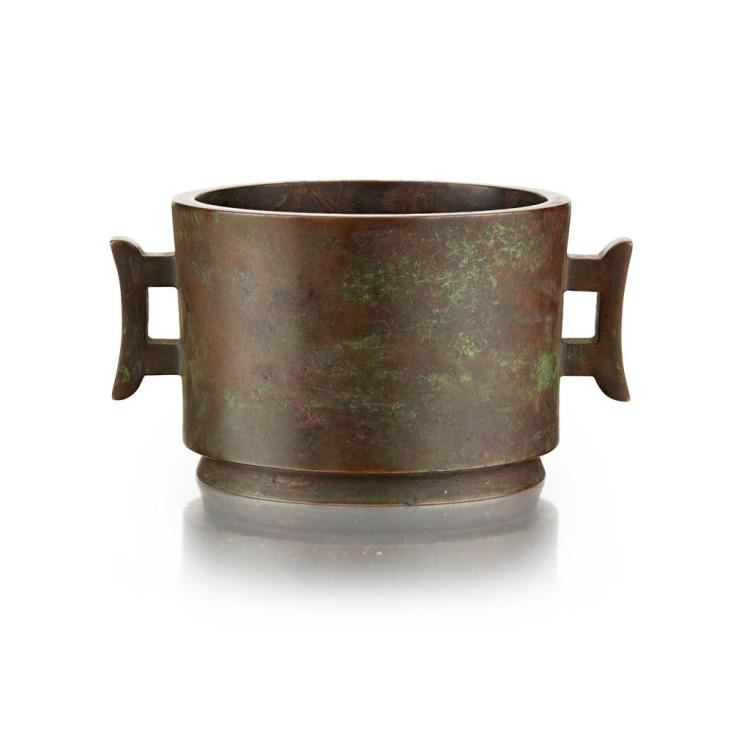 BRONZE CENSER YA TANG QING WAN MARK, QING DYNASTY 11.5cm wide, 861g
