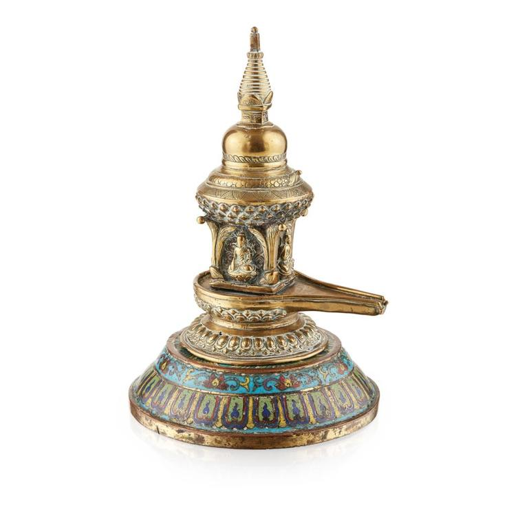 BRONZE STUPA ON A CLOISONNÉ ENAMEL BASE BASE QIANLONG MARK AND OF THE PERIOD 25cm high