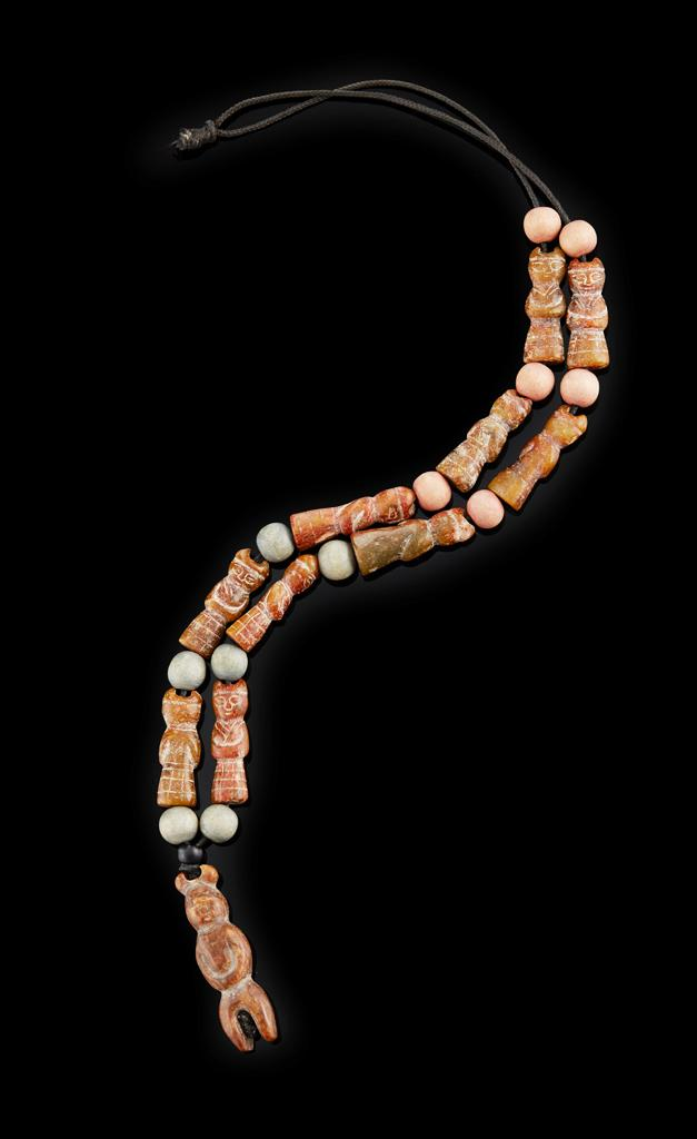 PENDANT NECKLACE COMPOSED OF CARVED JADE FIGURINES LATE NEOLITHIC PERIOD OR LATER pendant 5cm high