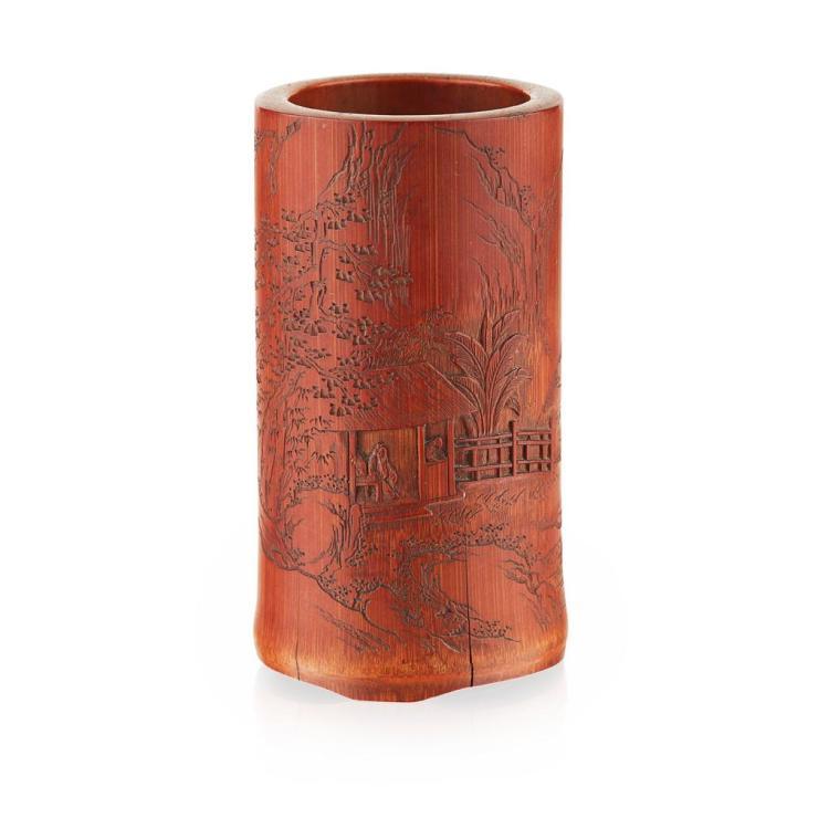 BAMBOO BRUSHPOT QING DYNASTY, 18TH CENTURY 11.5cm high