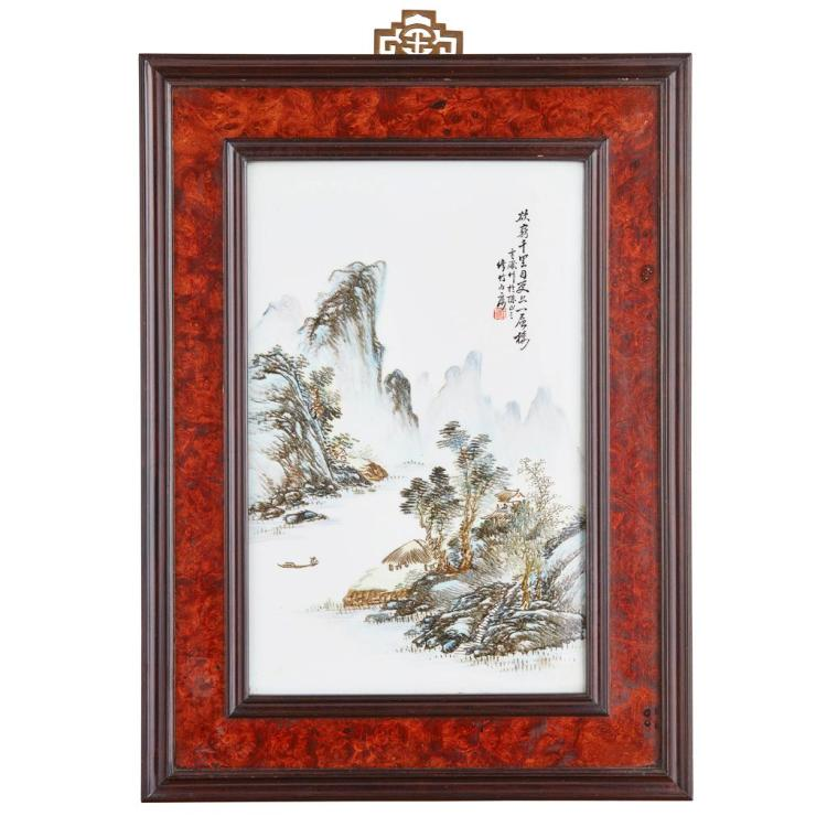 QIANJIANG-ENAMELLED PORCELAIN PLAQUE REPUBLIC PERIOD 38cm high, 24cm wide