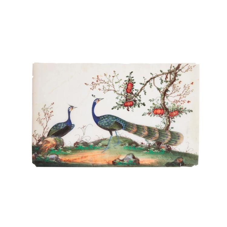 ALBUM OF TWELVE RICE PAPER PAINTINGS OF BIRDS AND FLOWERS QING DYNASTY, 19TH CENTURY each leaf 23.5cm high, 33.5cm wide