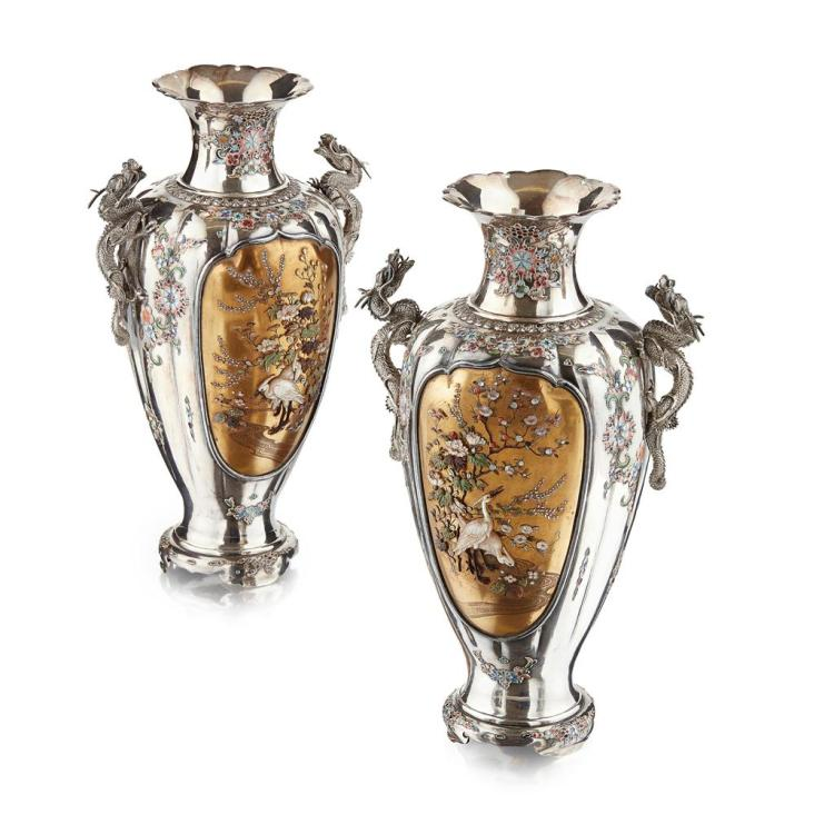 PAIR OF SILVER, CLOISONNÉ AND SHIBAYAMA-INLAID BALUSTER VASES BY SADAYUKI, MEIJI PERIOD 23cm high