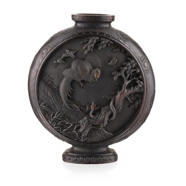 BLACKWOOD MOON FLASK MEIJI PERIOD 39cm high