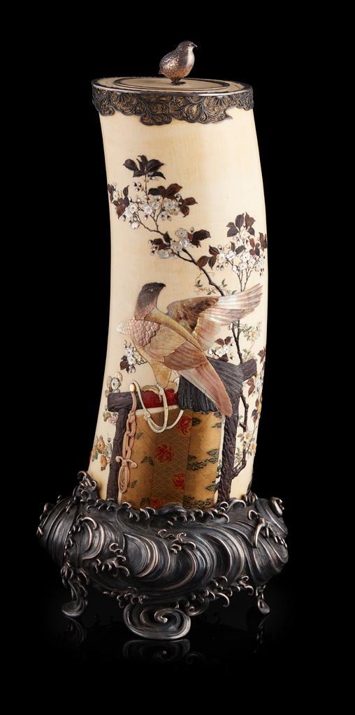 Y SILVER-MOUNTED SHIBAYAMA-INLAID IVORY TUSK SIGNED MASAYOSHI, MEIJI PERIOD 58cm high