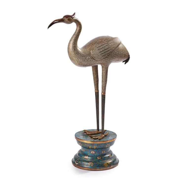 CLOISONNÉ ENAMEL CRANE LATE 18TH/EARLY 19TH CENTURY 73cm high