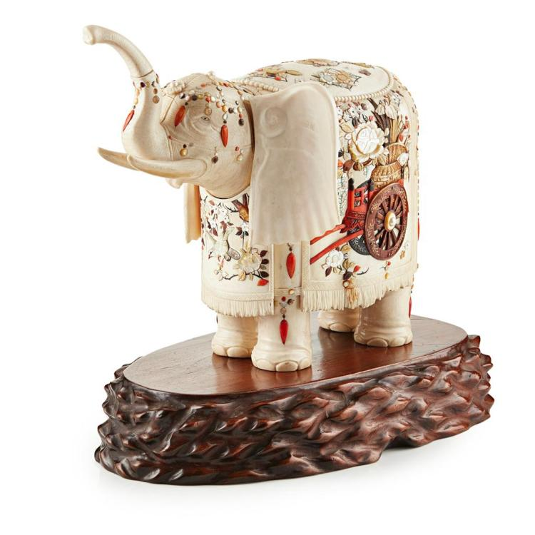 Y IMPRESSIVE SHIBAYAMA-INLAID IVORY ELEPHANT MEIJI PERIOD 35.5cm long