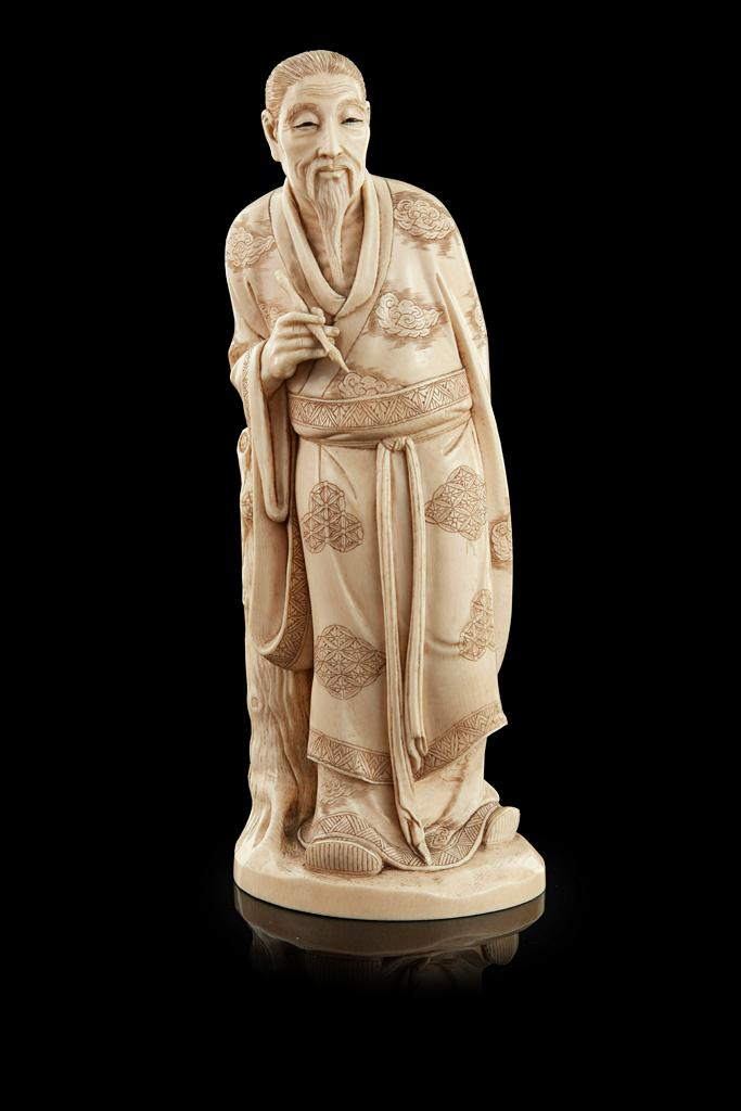 Y LARGE IVORY OKIMONO OF A SCRIBE POSSIBLY BY SHIMSHO, MEIJI PERIOD 27.5cm high