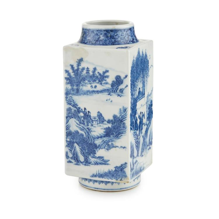 BLUE AND WHITE 'THE STORY OF THE WESTERN WING' CONG VASE YONGZHENG MARK BUT LATER 27cm high