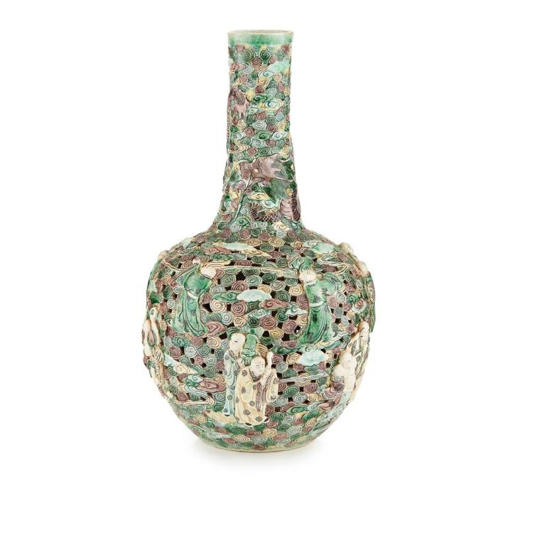 FAMILLE VERTE RELIEF-MOULDED ''ARHATS'' BOTTLE VASE KANGXI MARK BUT 19TH CENTURY 42cm high