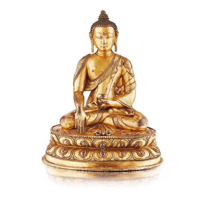 SINO-TIBETAN GILT BRONZE BUDDHA QING DYNASTY, 18TH/19TH CENTURY 23cm high