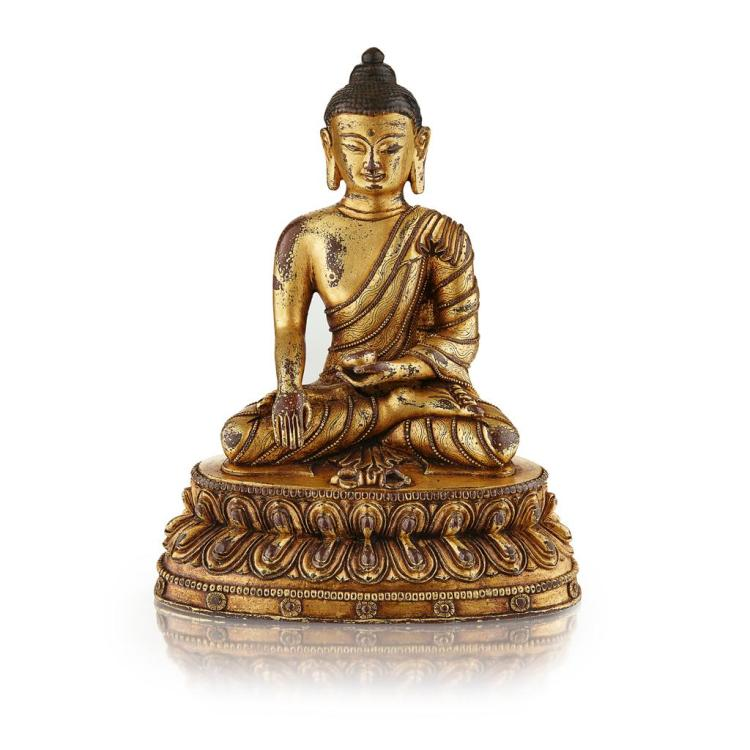 GILT-BRONZE SHAKYAMUNI BUDDHA QING DYNASTY, 18TH/19TH CENTURY 19cm high