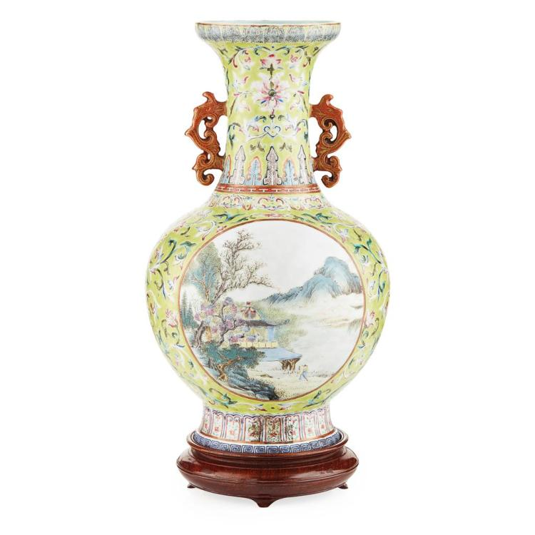 FAMILLE ROSE LIME-GREEN GROUND VASE QIANLONG SEAL MARK, BUT 19TH CENTURY 30cm high
