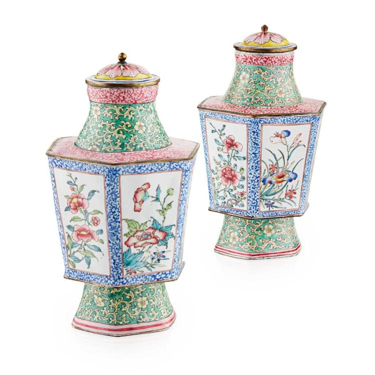 FINE PAIR OF CANTON ENAMEL TEA CADDIES AND COVERS QING DYNASTY, 18TH CENTURY 17cm high