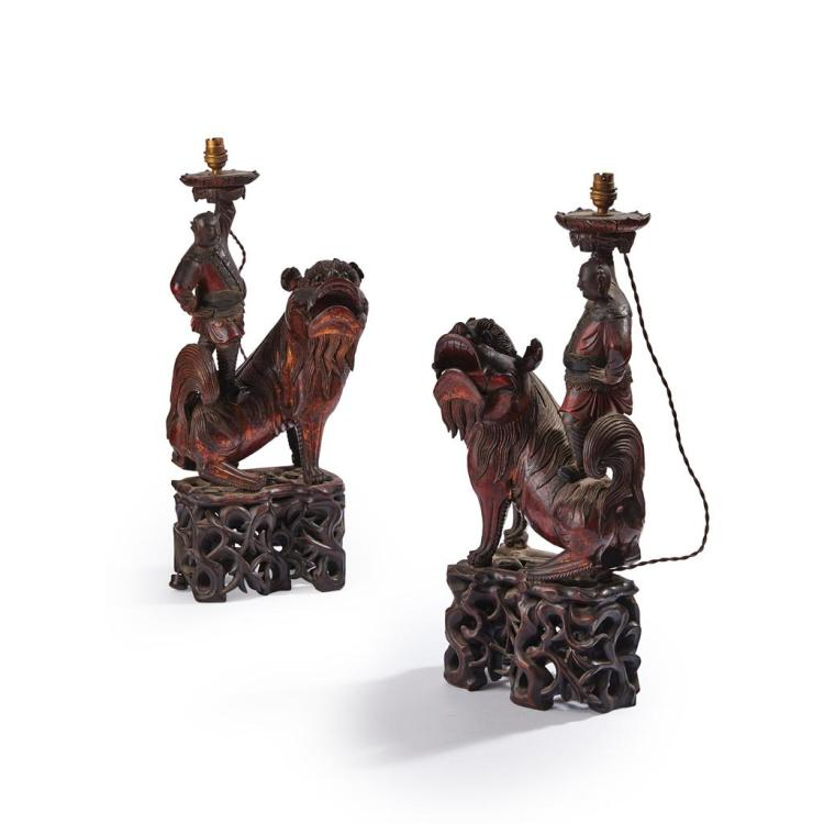 PAIR OF UNUSUAL EXPORT 'BUDDHIST LION' LAMPS QING DYNASTY, 19TH CENTURY 64cm high