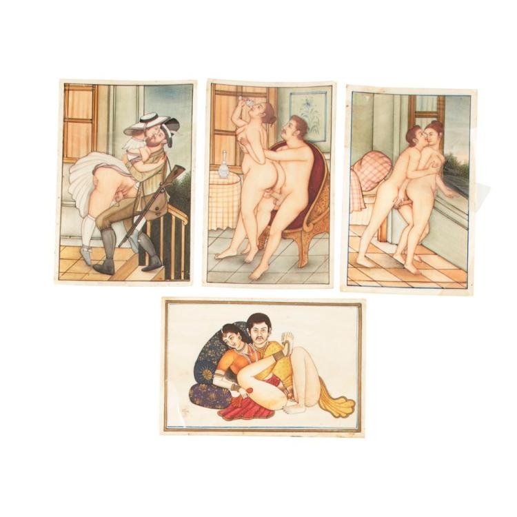Y RARE SET OF THREE INDIAN SCHOOL IVORY 'EROTIC' PAINTINGS 19TH CENTURY