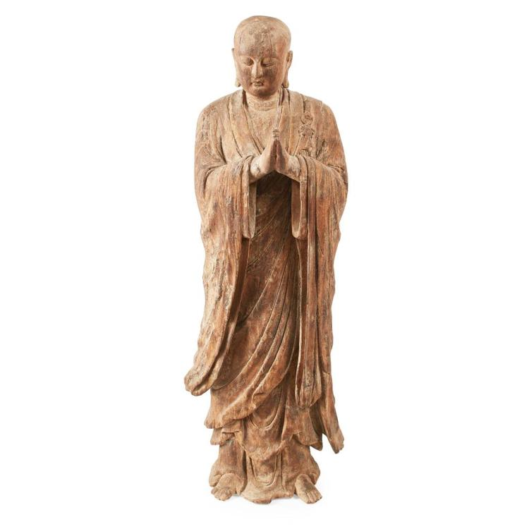LARGE CARVED WOOD BUDDHA QING DYNASTY, 19TH CENTURY 139cm high