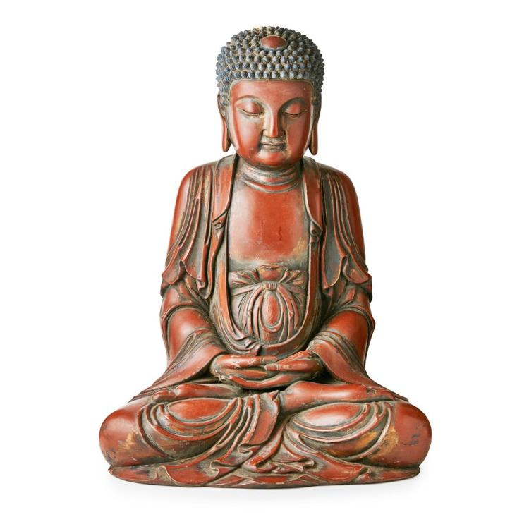 LARGE LACQUERED AND PAINTED BUDDHA 92cm high