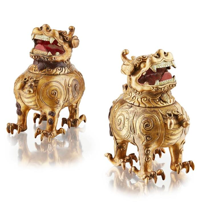 PAIR OF GILT BRONZE 'PIXIU LION' CENSERS 14cm high