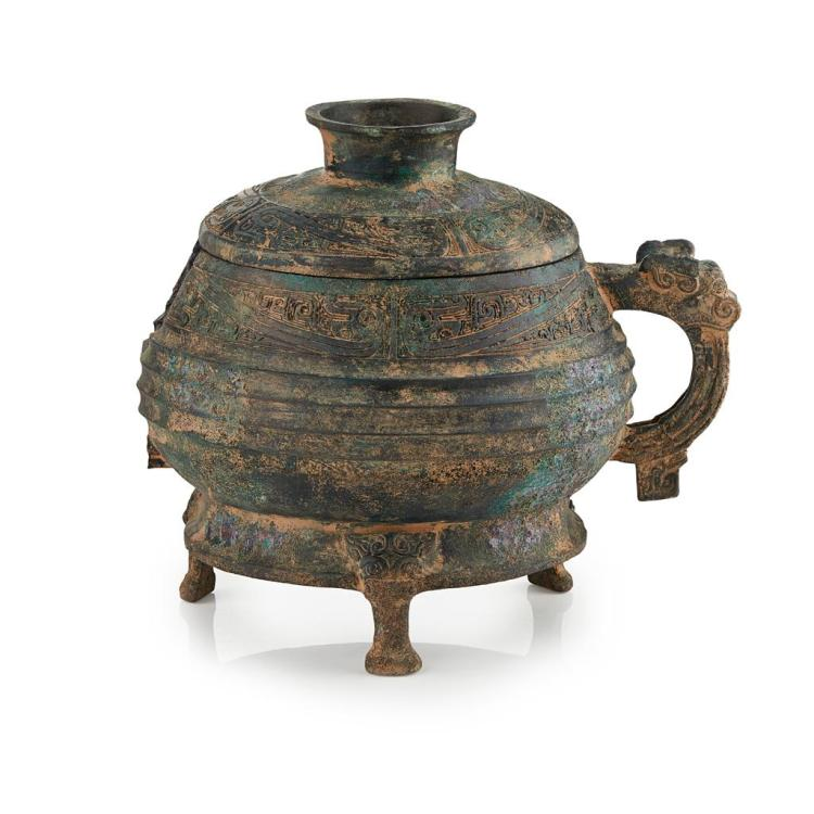 ARCHAISTIC BRONZE COVERED FOOD VESSEL, DUI 23.5cm high