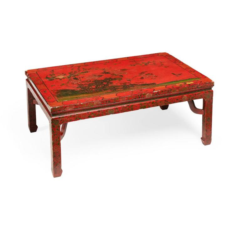 RED LACQUER KANG TABLE MING/QING DYNASTY, LATE 17TH/EARLY 18TH CENTURY 101cm wide, 43cm high, 66cm deep