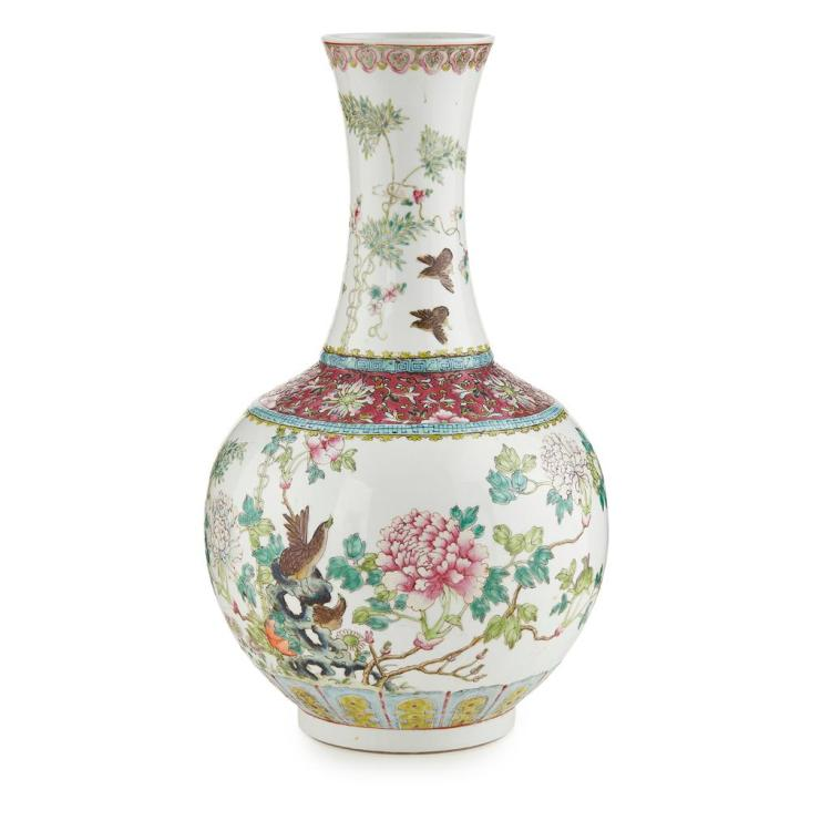 FAMILLE ROSE BOTTLE VASE HONGXIAN MARK AND OF THE PERIOD 46cm high