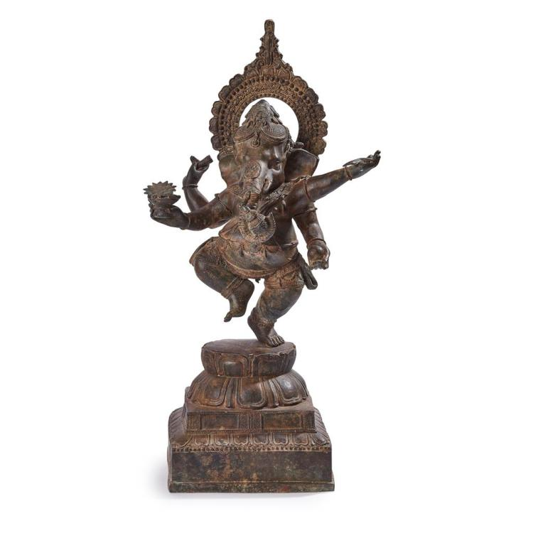 BRONZE FIGURE OF DANCING GANESH SOUTH INDIA, 19TH CENTURY 76cm high