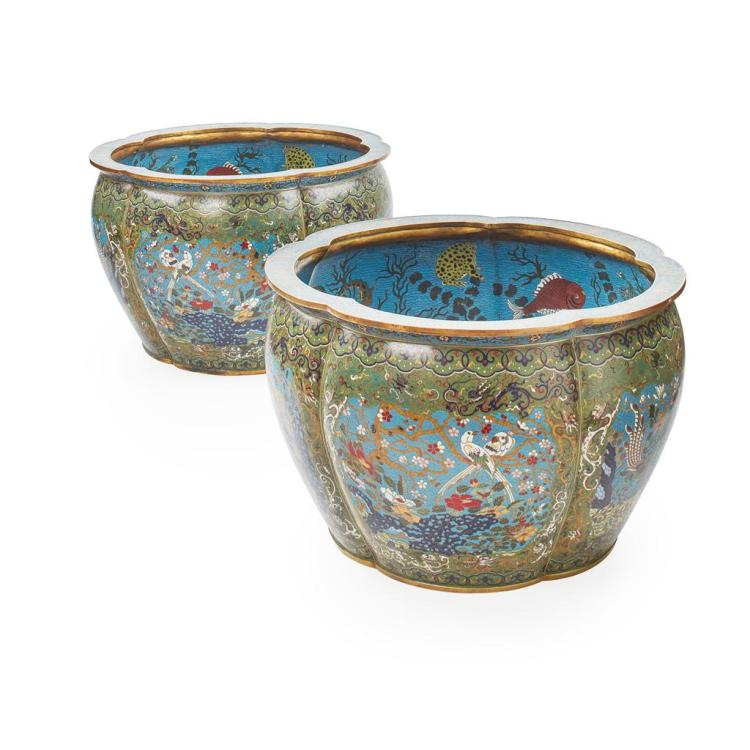 PAIR OF CLOISONNÉ ENAMEL FISH BOWLS QIANLONG MARK BUT LATER 48cm wide
